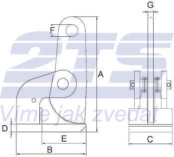 Horizontání svěrka CHTV 3 t, 0-60 mm, pár - 3