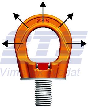 Šroubovací otočný  bod PLGW M36x55, nosnost 7 t, basic bez čipu- pro montážní klíč - 3
