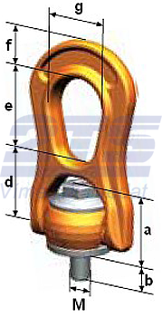 Šroubovací otočný a sklopný bod PLBW M30x45,4, nosnost 6,3 t, max.délka - 3