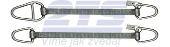 Ploché ocelové lano se zapleteným okem, typ 8701, 2t, 2,5m - 3