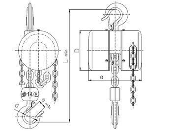 Řetězový kladkostroj Z100, nosnost 0,5 t, délka zdvihu 6 m - 3