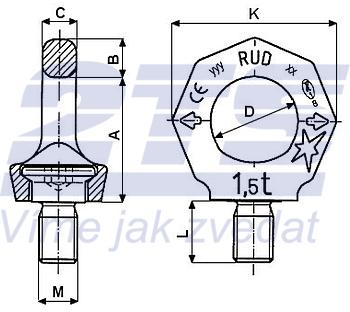 Šroubovací otočný bod RUD VRS M12x18, Nosnost 0,75t (2t) - 3