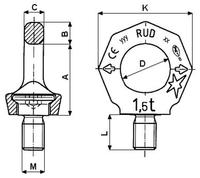 Šroubovací otočný bod RUD VRS M12x18, Nosnost 0,75t (2t) - 3/3