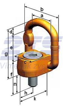 Šroubovací otočný a sklopný bod PLAW M20x33, nosnost 2,5 t, max.délka - 3