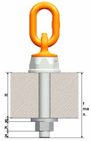 Šroubovací otočný a sklopný bod PLDW M48x68, nosnost 12,5 t,s čipem NFC - 4/7