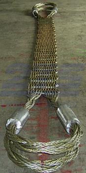 Ploché ocelové lano se zapleteným okem, typ 8701, 15t, 4,5m - 4