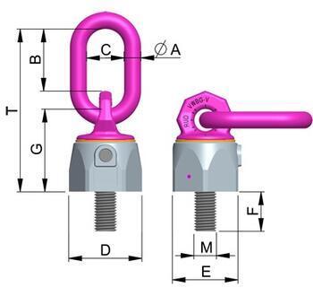 Šroubovací otočný a sklopný bod RUD VWBG-V M8x13 mm, nosnost 0,3t(0,6t) - 4