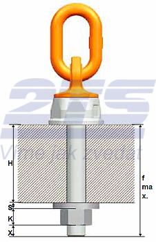 Šroubovací otočný a sklopný bod PLDW M16x33, nosnost 1,5 t - 4