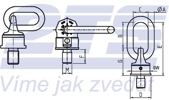 Šroubovací otočný a sklopný bod RUD VWBG M48x4,5, nosnost 13t - 4