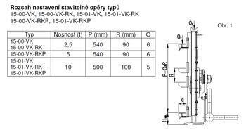 Hřebenový zvedák s přestavitelnou opěrou 15-00, nosnost 5 t, standard klika - 5