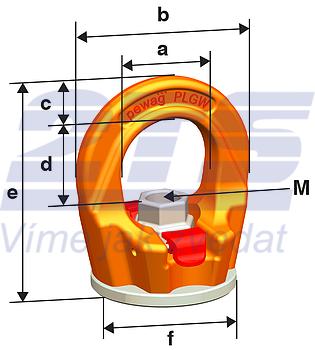 Šroubovací otočný  bod PLGW-SN- M30x45, nosnost 4,9t,basic bez čipu NFC-pro montáž.klíč - 6