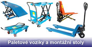 Paletové vozíky a montážní stoly
